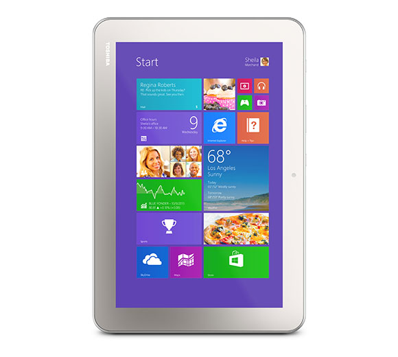 Toshiba presents the Encore 2, a 10-inch Windows-based tablet, which appeared on stage at the Microsoft Computex keynote 2014.