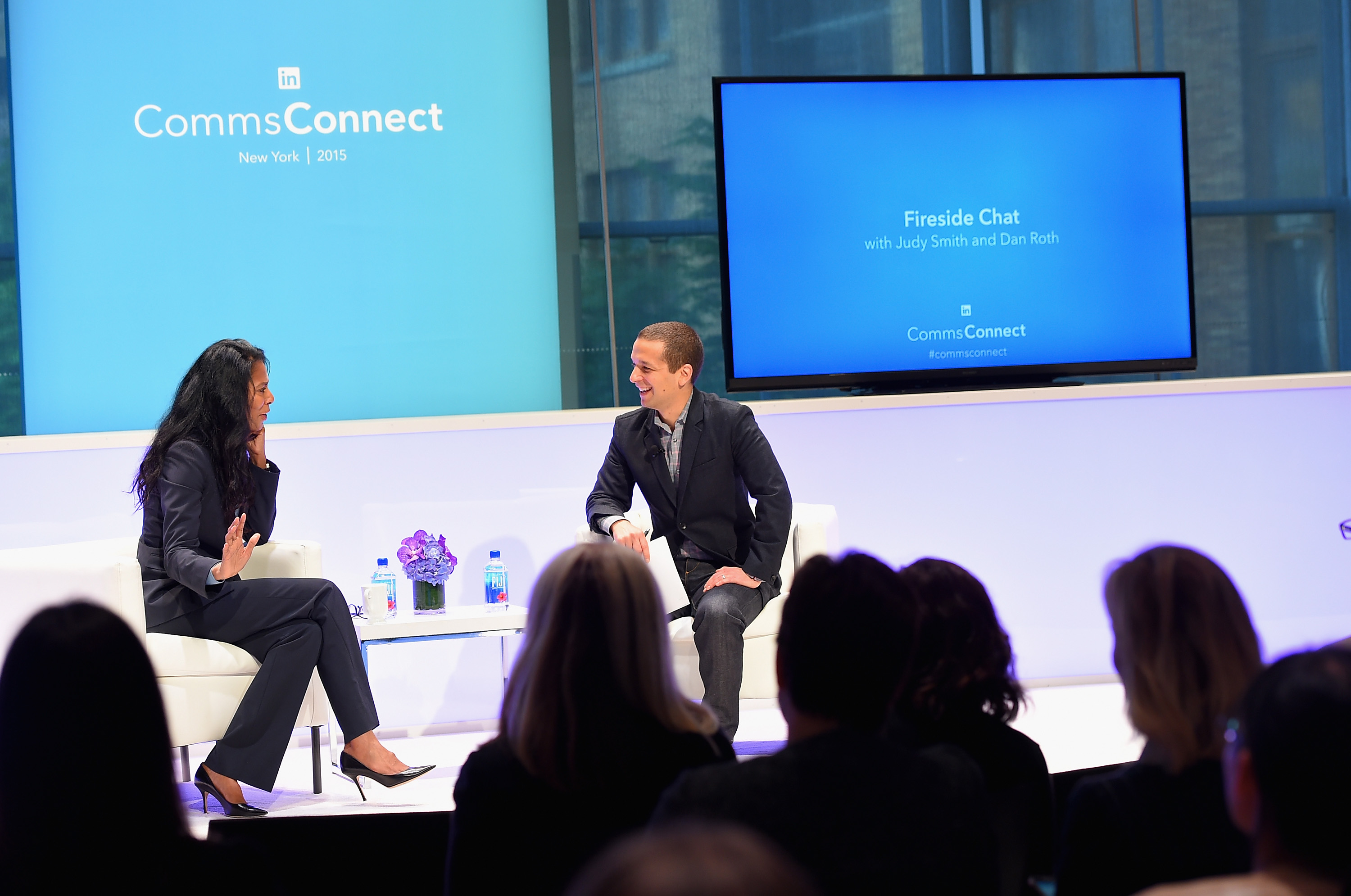NEW YORK, NY - MAY 08:  Judy Smith Founder and President, Smith & Company and Dan Roth Executive Editor, LinkedIn speak onstage at LinkedIn's CommsConnect NY at Carnegie Hall on May 8, 2015 in New York City.  (Photo by Michael Loccisano/Getty Images for LinkedIn)