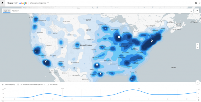 Google shopping insights - toys in the US 2016