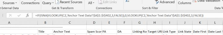 Excel formula: =IF(ISNA(VLOOKUP(C2,'Anchor Text Data'!$ A$ 1:$ I$ 402,3,FALSE)),0,VLOOKUP(C2,'Anchor Text Data'!$ 1:$ I$ 402,3,FALSE))